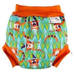 BAÑADOR-PAÑAL bebé tigres naranja y verde