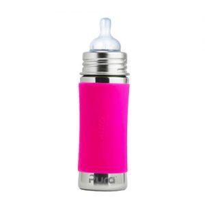 BIBERÓN DE ACERO 325 ML – silicona rosa