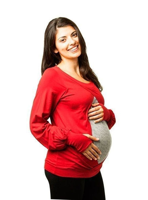 camiseta premama y lactancia roja manga larga