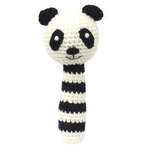 SONAJERO CROCHET panda blanco y negro