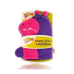 MANOPLA BAÑO hipopótamo rosa y morada