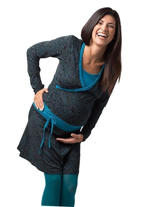 vestido premama y lactancia azul corto invierno (4