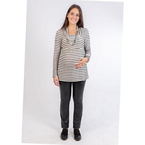 camiseta premama rayas grises brillante elegante (4)