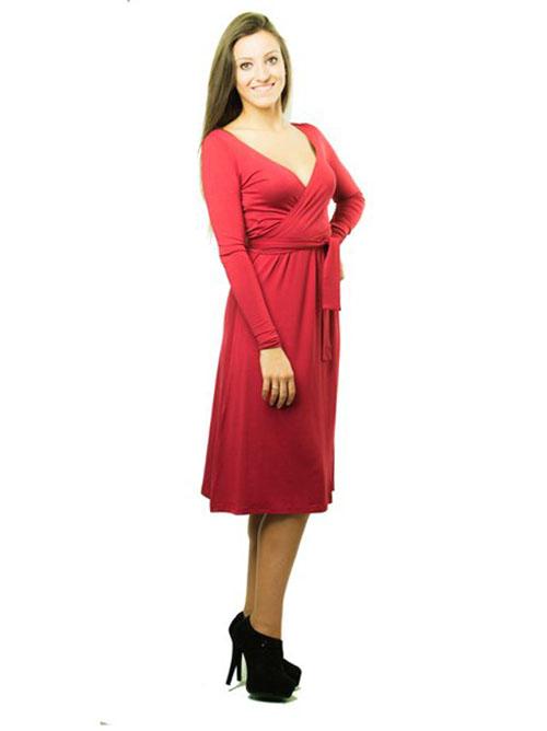 vestido embarazo y lactancia rojo manga larga (1)