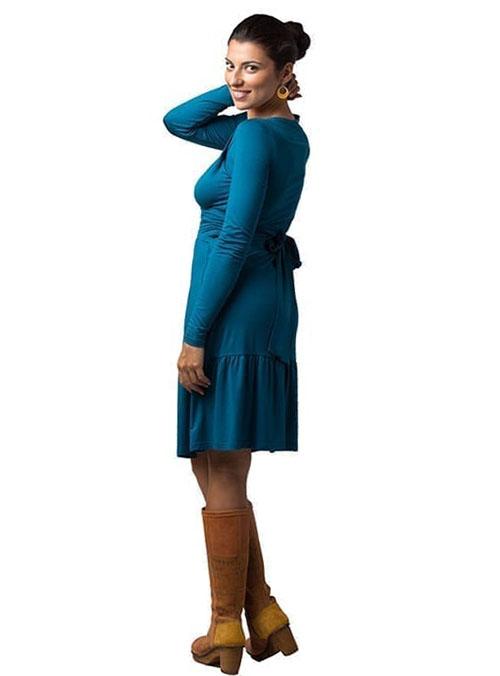 vestido premama y lactancia azul manga larga volantes (2)