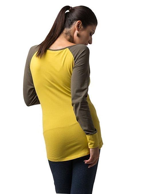 camiseta premama y lactancia mostaza y verde manga larga (3)