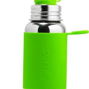 BOTELLA DE ACERO 550ml silicona verde