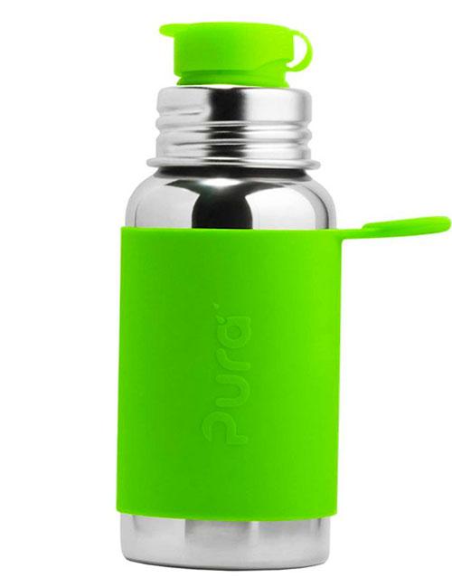botella-acero- 550ml- silicona- verde (2)