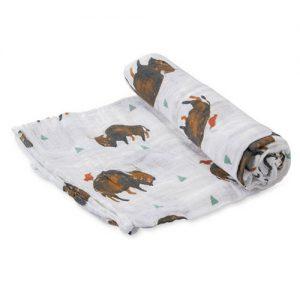 MUSELINA ALGODÓN bisontes marrones