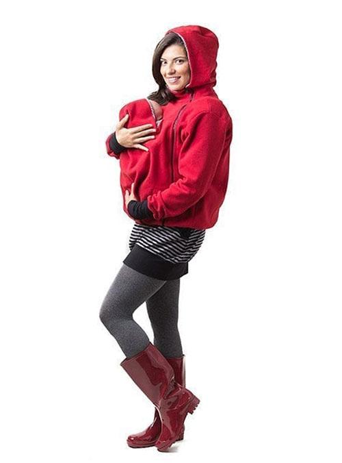 Abrigo forro porteo y embarazo unisex rojo (5)