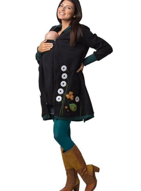 abrigo de embarazo y porteo - negro- juvenil - arbol de amor (4)