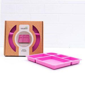 BANDEJA BAMBÚ compartimentos rosa