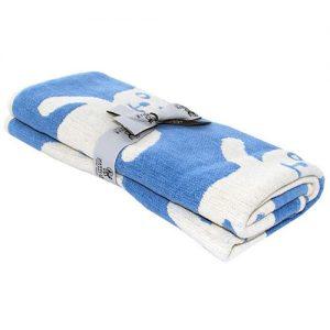 MANTA DE CHENILLA algodón orgánico osos azul