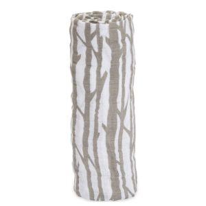 MUSELINA ALGODÓN rayas blanco y gris birch