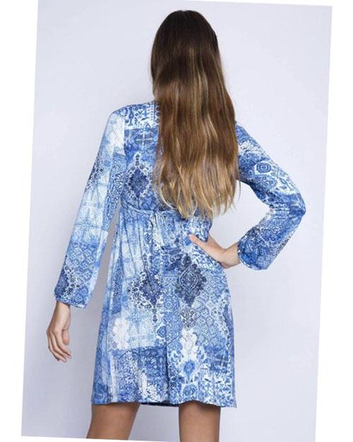 vestido premama manga larga azul elegante (2)