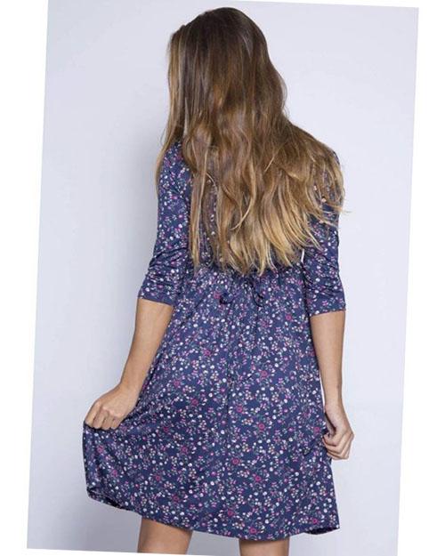 vestido premama manga francesa elegante azul marino (2