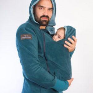ABRIGO DE EMBARAZO Y PORTEO polar verde