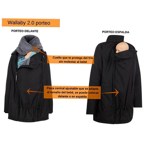 abrigo premama y porteo invierno negro