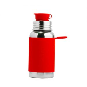 BOTELLA ACERO. 550 ml. silicona roja