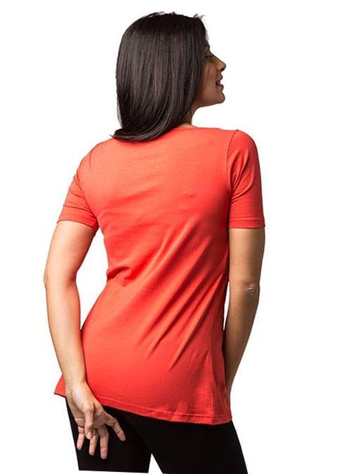 camiseta lactancia maga corta coral estampada