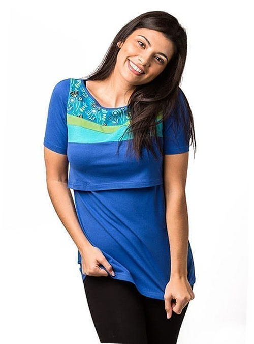 camiseta lactancia manga corta azul