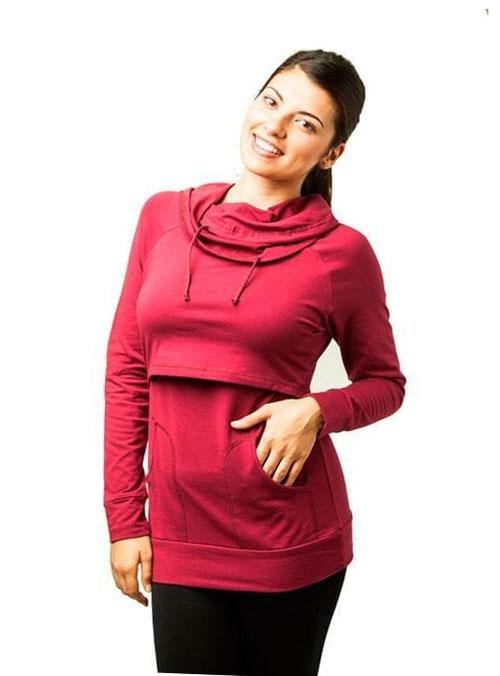 camiseta lactancia cuello vuelto manga larga