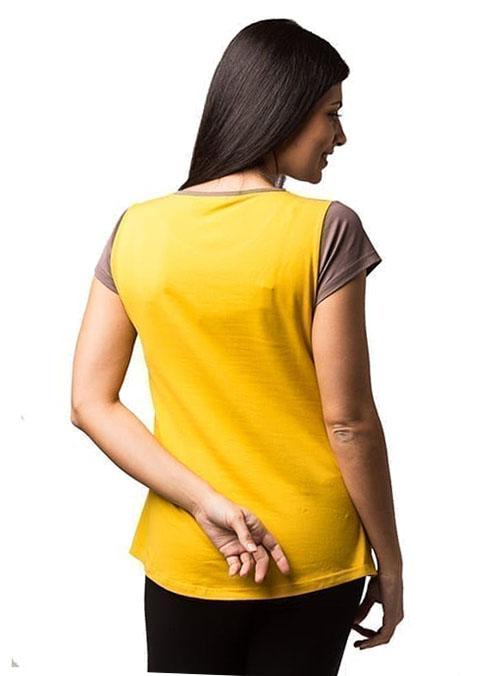 camiseta premama y lactancia manga corta mostaza