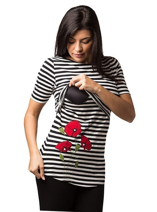 camiseta premama y lactancia manga corta rayas (1)