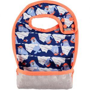 BABERO CON BOLSILLO focas azul y naranja