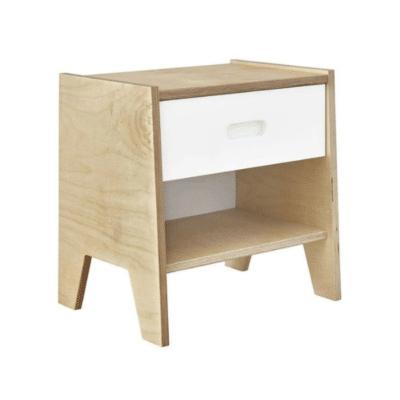 mesita de noche de madera con cajón blanco marca Akiten Retail