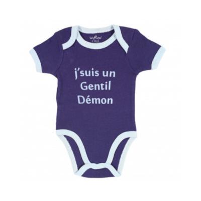 Body de bebé azul con borde de la marca Kinousses