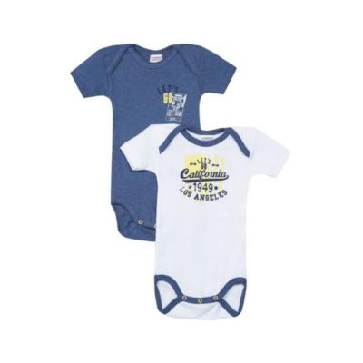 2 body de bebé azul y blanco de la marca Absorba