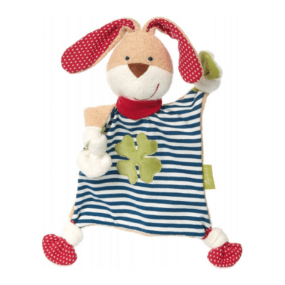 colcha para bebé con rayas naranjas en las orejas y los pies, trébol verde de cuatro hojas en la parte superior
