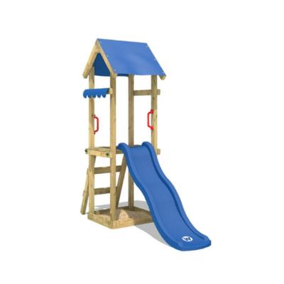 tobogán azul y estructura de madera de la marca wickey