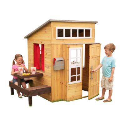 Cabaña de madera Kidcraft para niños con cocina y mesa