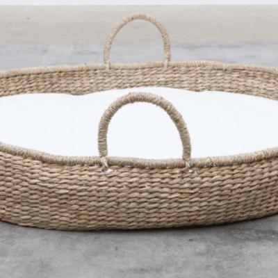 Cesta de mimbre de lino blanco de la marca artesanal