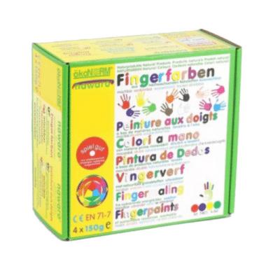 Caja Okonorm con pintura para dedos de 4 colores