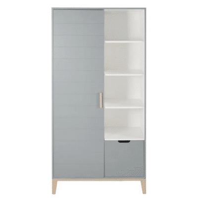 Vestidor-infantil-vintage-Gaspard-2-puertas-1-cajon-gris-azul-marca-Maisons-Du-Monde