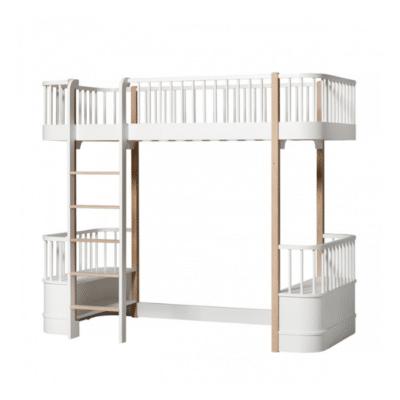 cama alta en blanco y madera marca oliver muebles